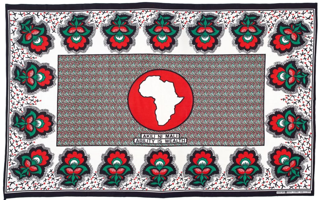 Kanga in red, white, black and green, with the outline of Africa in the centre in a red circle.