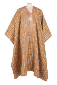 a beige and white striped mans gown