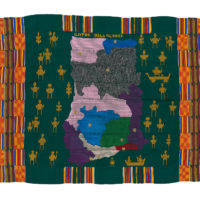 a colourful woven cloth which features a map of Ghana