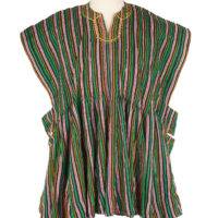 Shirt made from green, brown and red striped kente fabric