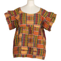 woman's bloused tailored from strips of red, orange, green, yellow and blue kente cloth