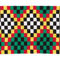 Woven textile featuring squares of black, white, yellow, red and green formed into a repeating diamond design.