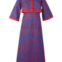 Woman's maxi dress and matching jacket, made from blue and red adire stencilled fabric.