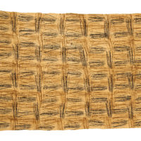 Beige textile with a check design made up of many scrawled black and brown lines.