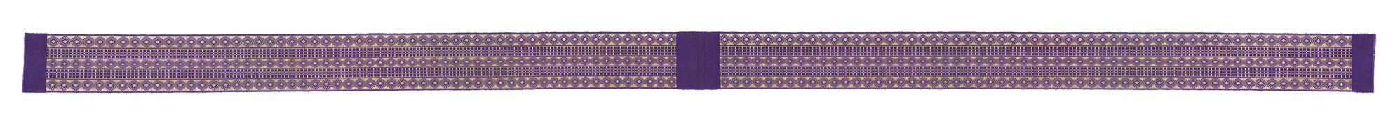 long strip of purple aso-oke fabric with diamond and windowpane check designs