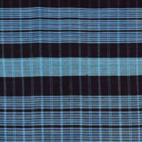 strip woven cotton fabric in dark and pale blue stripes