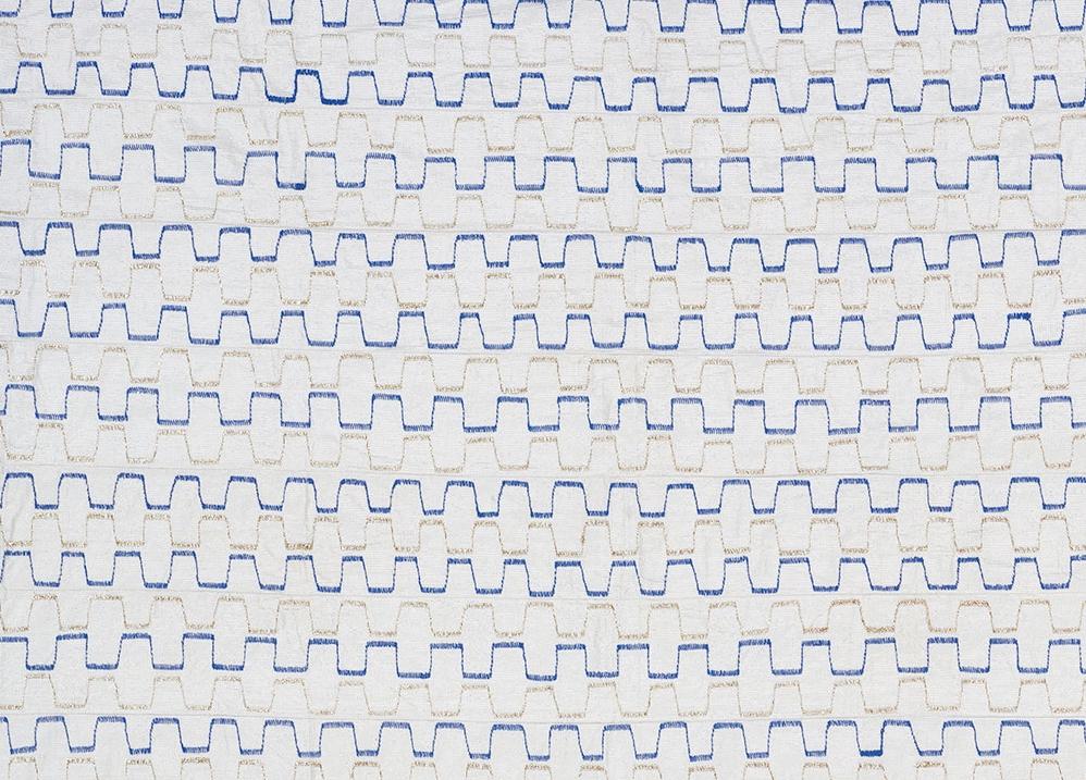white, silver and blue aso-oke fabric