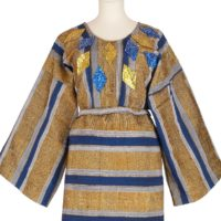 blue and gold striped aso-oke buba with diamond shaped patches of sequins on the yoke