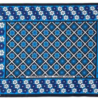 Unseparated pair of kangas in a blue floral design