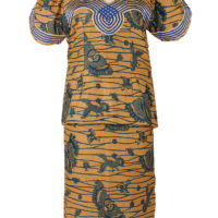 Woman's blouse and skirt outfit in a beige and dark blue wax print design.