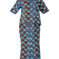 womans matching blouse and skirt outfit in a blue, purple and brown wax print design.