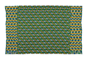 Kente design cloth in yellow, green and blue.