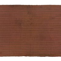 narrow strip woven mans cloth, brown, orange green,'python skin' design