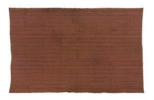 narrow strip woven mans cloth, brown, orange green,'python skin' design