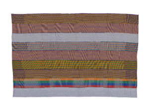 Kente made up of coloured strips representing different designs and techniques.