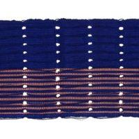 Dark blue strip of aso-oke fabric