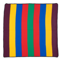 square wool basotho blanket in bold stripes of purple, yellow, blue, red and green.