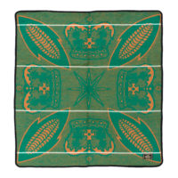 square green and yellow basotho blanket with a design of corncobs and crowns