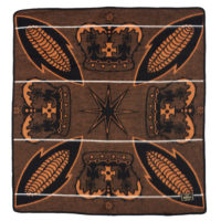 Square brown, black and yellow basotho blanket with a design of corncobs and crowns