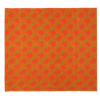 bright orange and green printed cotton fabric