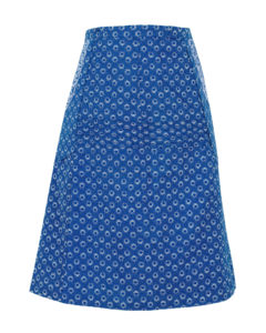 front view of blue and white shweshwe A line wrap skirt