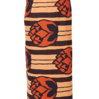 Long wrap skirt, with button fastening and pleats at one side. Orange, peach, brown and black, large floral wax print design.