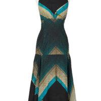 Floor length halterneck dress with full panelled skirt, Dark blue, turquoise and white striped design.