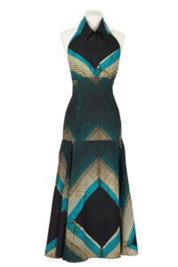 Floor length halterneck dress with full panelled skirt, Dark blue, turquoise and white striped design.