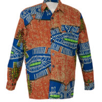 Large man's jacket with collar, pockets and button fastenings in Orange, blue and green wax print.