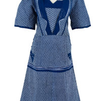 blue and white printed shweshwe dress