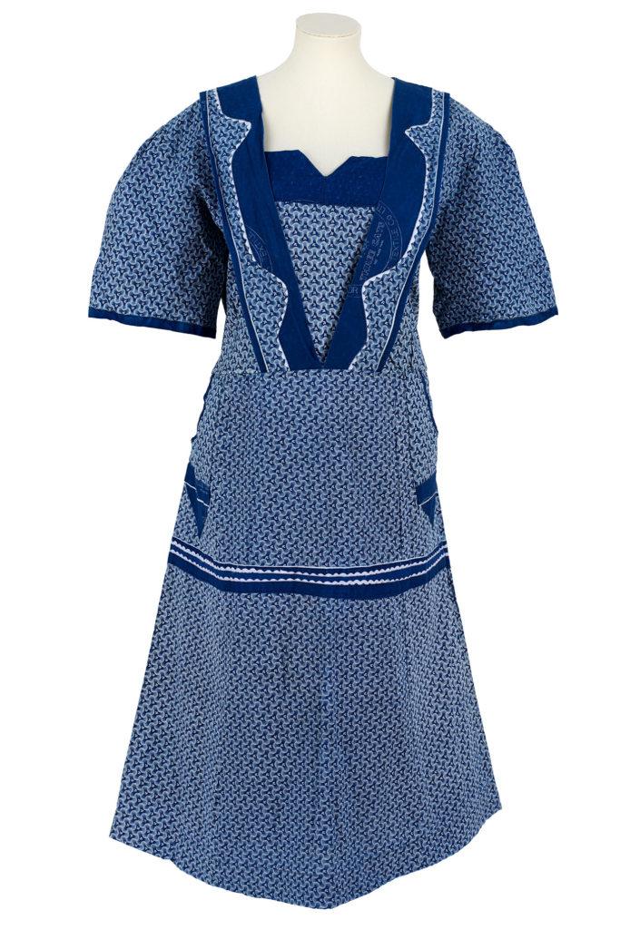 blue and white printed shweshwe dress