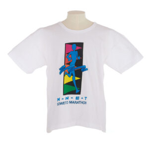 White T shirt with a cartoon of a runner and SOWETO MARATHON on the front