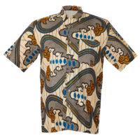 Man's beige, brown and blue wax print shirt