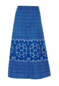 Blue and white shweshwe print skirt with football motif