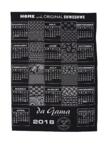 Shweshwe promotional calendar printed with samples of designs by da Gama