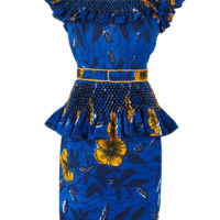Blue and yellow dress with ruffled shoulders and peplum waist in a floral wax print fabric