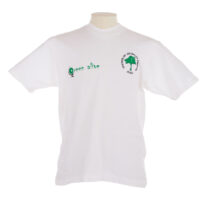 White T shirt with a green tree and text reading 'Friends of Jevanjee Gardens' and 'Green Alive' on the front