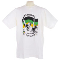 White T shirt with portraits of Nelson and Winnie Mandela, the ANC logo and flag, and text reading 'Mandela, ANC, Higher than Hope, Shuuja wa Africa' in black, green and yellow.