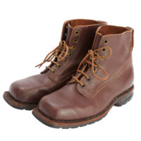 Pair of men's brown leather lace up ankle boots