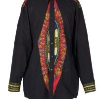 Man's black dress shirt made of dashiki fabric