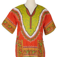 Women's orange and yellow dashiki shirt on a mannequin