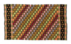 narrow strip woven man's kente cloth multicoloured design with motifs including Sanfoka birds, tortoises and people with geckos along the borders.
