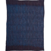 rectangular cloth dyed with indigo in striped pattern