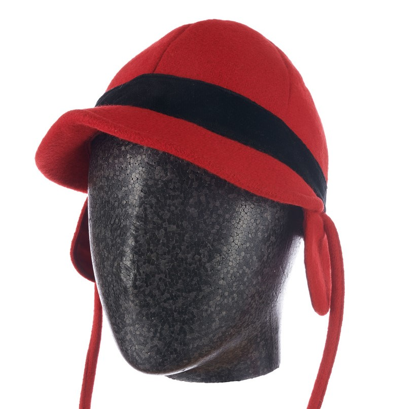 red man's riding cap with chin strap