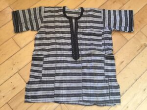 An indigo and white striped cloth shirt