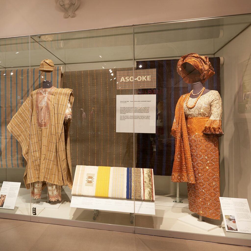 a display of aso-oke outfits in the museum