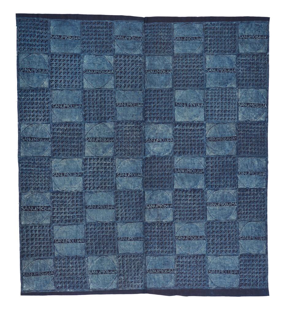 Indigo cloth with a grid pattern