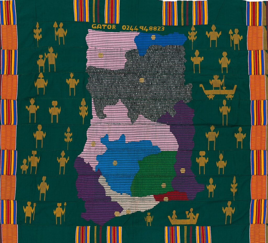 green kente cloth with a design of a map of Ghana surrounded by human figures