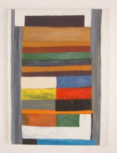 Painting on canvas, composed of coloured blocks and stripes