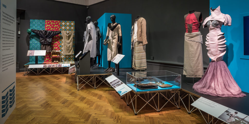 Museum display showcasing work by Kenyan designers and stylists